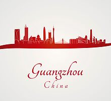 Guangzhou skyline in red by paulrommer