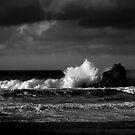Crashing Waves at Trevone Bay in Black and White by Samantha Higgs