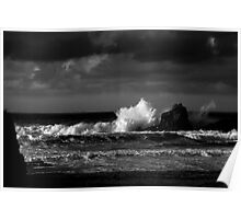 Crashing Waves at Trevone Bay in Black and White Poster