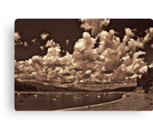 Cloud Parade Over Jackson Lake (B&W) Canvas Print