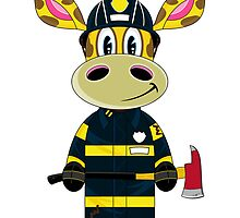 Cute Fireman Giraffe Cartoon by MurphyCreative
