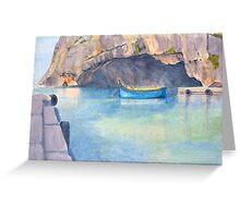Blue Boat, Xlendi, by John Rees Greeting Card