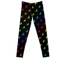 Rainbow unicorn pattern on black background Leggings