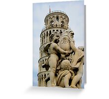 Leaning tower of Pisa and Cherubs, Tuscany, Italy Greeting Card