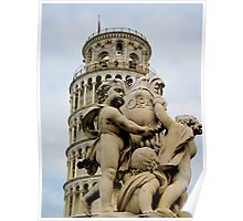 Leaning tower of Pisa and Cherubs, Tuscany, Italy Poster
