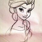Frozen Elsa - concept art sketch  by elenapugger
