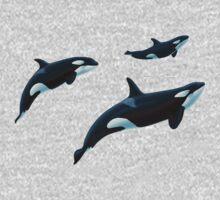 Sakari, Takara and Calf Orcas by Art-by-Aelia