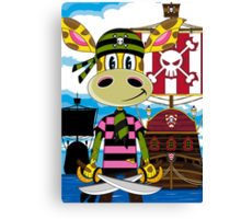 Pirate Giraffe and Ship Canvas Print