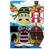 Pirate Giraffe and Ship Poster