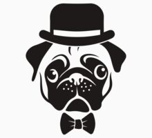 Pug in Bowler Hat and Bow Tie by AiReal Apparel Kids Tee