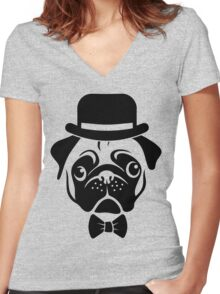 Pug in Bowler Hat and Bow Tie by AiReal Apparel Women's Fitted V-Neck T-Shirt