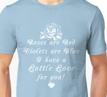 Roses are Red, Violets are Blue Lottle Love Blue Unisex T-Shirt