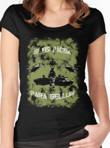 Si vis pacem para bellum USA oliv w. white font Women's Fitted Scoop T-Shirt