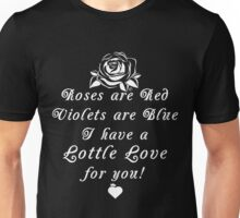 Roses are Red, Violets are Blue Lottle Love Black Unisex T-Shirt