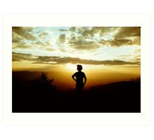 1950's Cloudscape with Woman Silhouette Art Print
