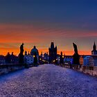 Charles bridge at dawn by FLYINGSCOTSMAN