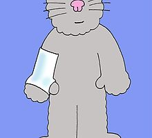 Cartoon cat with wrist/arm in plaster, get well soon. by KateTaylor