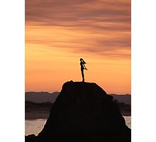 Lady on the rock Photographic Print