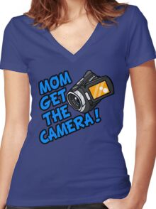 MOM GET THE CAMERA! Women's Fitted V-Neck T-Shirt