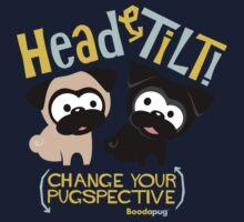 Pug Head Tilt (gold & blue) Kids Clothes