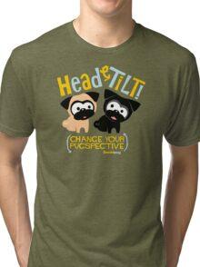 Pug Head Tilt (gold & blue) Tri-blend T-Shirt