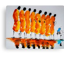 8 monks and a tourist Canvas Print
