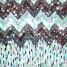 SHINE ON - WINTER LOVE, Beautiful SIlver White Black Chevron Pattern Polka Dota Abstract  by EbiEmporium