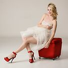 Julie in white mesh and hot red heels by Swede