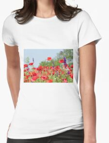 poppy field Womens Fitted T-Shirt