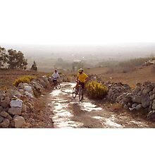 Cycling uphill Photographic Print