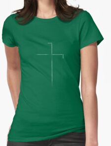 Sketch Cross (White) Womens Fitted T-Shirt