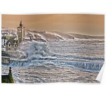 Porthleven Storm 6.1.14 - a slightly different take..... Poster