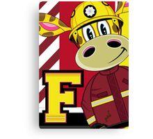 Cute Giraffe Fireman Canvas Print
