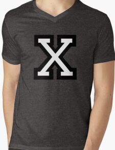 Letter X two-color Mens V-Neck T-Shirt
