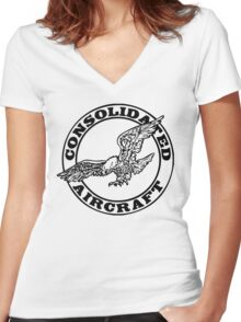 Consolidated Aircraft Logo (Black) Women's Fitted V-Neck T-Shirt