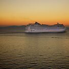 Sailing at Sunset (enlarge for better view) by Nancy Richard