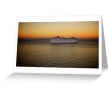 Sailing at Sunset (enlarge for better view) Greeting Card
