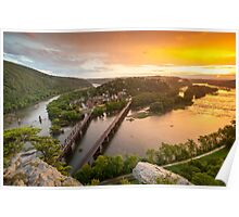 Historic Harper's Ferry West Virginia at Sunset Poster