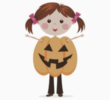 Halloween girl in pumpkin costume sticker by MheaDesign