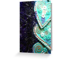 Mirror Hearts Purple And Green Greeting Card