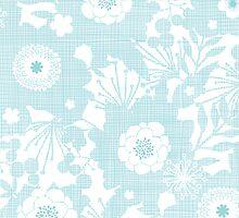 Blue lace flowers pattern by oksancia