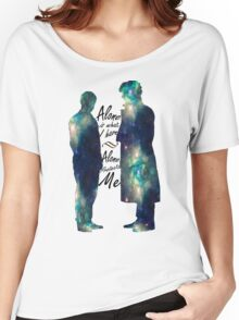 "Johnlock ""ALONE IS WHAT I HAVE"" white letters Women's Relaxed Fit T-Shirt"