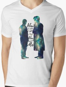 """Johnlock """"ALONE IS WHAT I HAVE"""" white letters Mens V-Neck T-Shirt"""