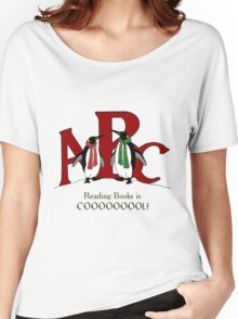 Reading Books is COOL, Penguins with Letters, ABC's Women's Relaxed Fit T-Shirt