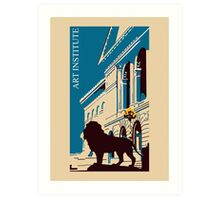 Art institute Chicago retro Art Print