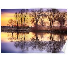 Pella Crossing Sunrise Reflections HDR Poster