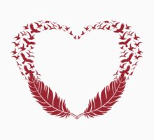 Red feather heart with flying birds Kids Tee