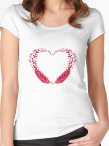 Red feather heart with flying birds Women's Fitted Scoop T-Shirt