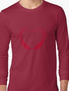 Red feather heart with flying birds Long Sleeve T-Shirt