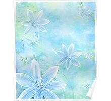 Floral Display Light Blue Poster